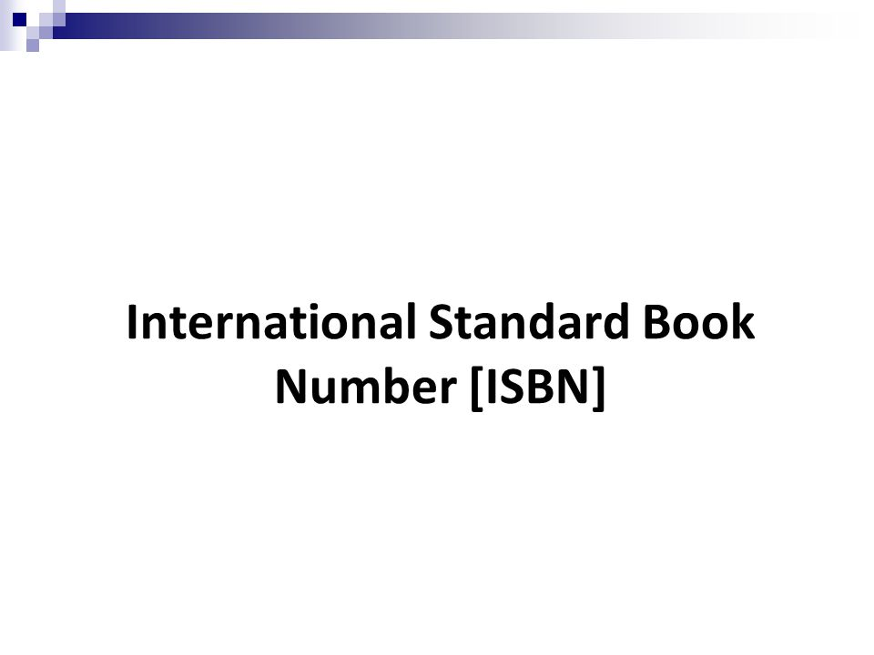 International Standard Book Number [ISBN]